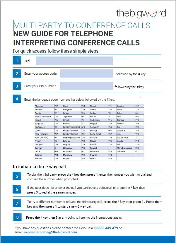 Snapshot of the Big Word Quick Guide for Telephone Interpreting - Poster