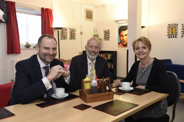 Justice Minister pictured with Phil Wragg and Sue McAllister