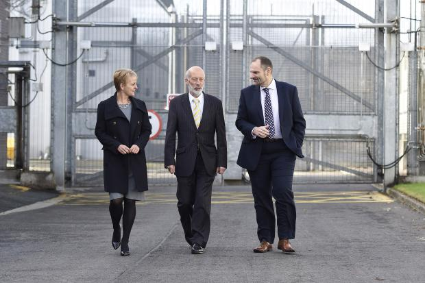 Minister of Justice pictured at Maghaberry Prison with Director General Sue McAllister and Governor Phil Wragg