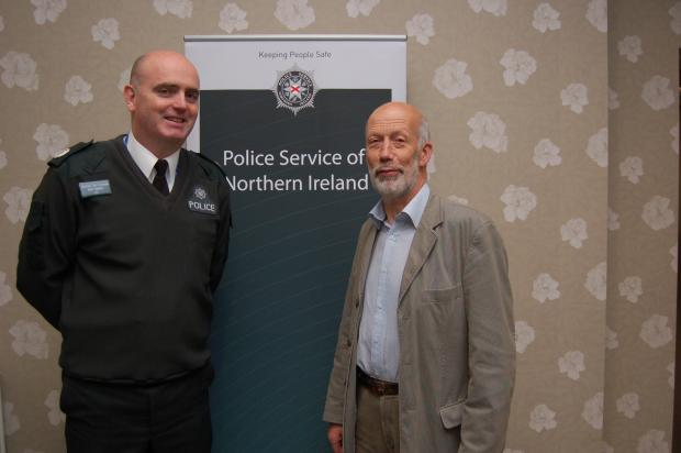 PSNI Assistant Chief Constable Mark Hamilton with Justice Minister David Ford at the PSNI recruitment event in Derry on Saturday 17 October.