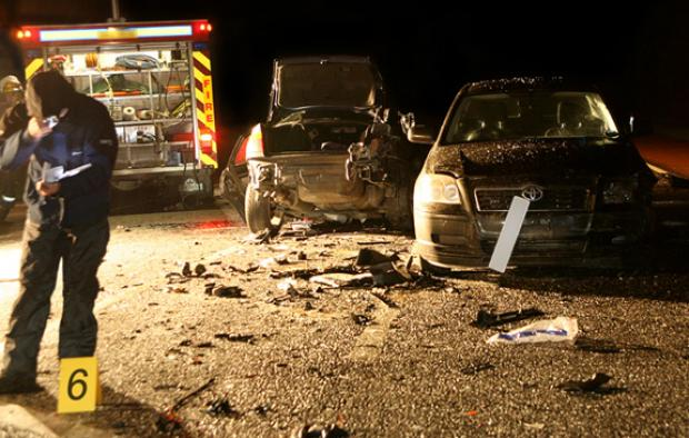 A typical night time road traffic collision scene