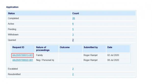 LAMS Screen Snip - Request summary report screen