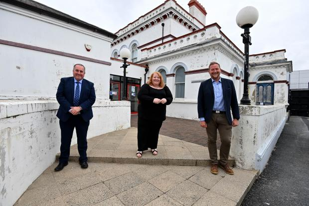 Mark Goodfellow, Chief Operating Officer of NICTS; Justice Minister Naomi Long and; Patrick Butler