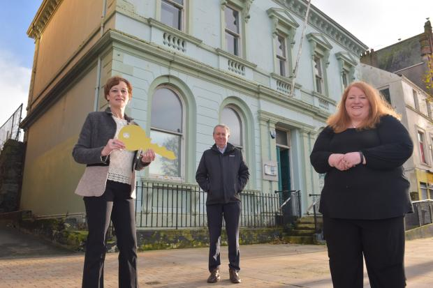 Photo caption: Pictured with Justice Minister Naomi Long are Alison Gordon; Co-director of Bangor Open House Festival, and Paul Mullan; Director NI of the Heritage Lottery Fund