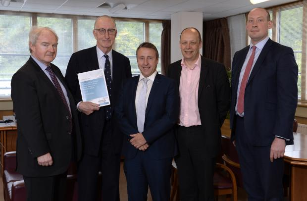 Sir John is pictured presenting the Gillen Review  Report to the Department's Criminal Justice Board.  Lord Chief Justice Sir Declan Morgan,Sir John Gillen,Stephen Herron DPP, DoJ Permanent Secretary Peter May AND PSNI T/ACC Tim Mairs pictured.