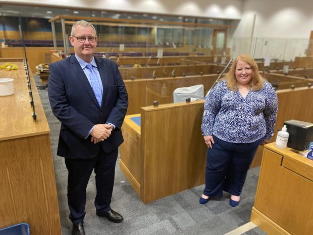 Justice Minister Naomi Long attends the resumption of jury trials
