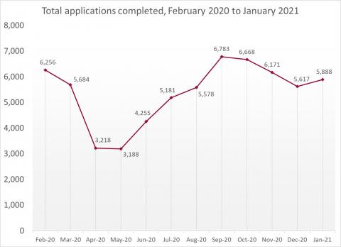 LSANI Line Graph – LAMS Total Applications Completed – February 2020 to January 2021