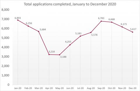LSANI Line Graph – LAMS Total Applications Completed – January to December 2020